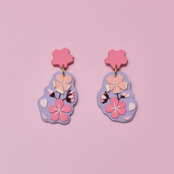 milki.sg Royal Sakura Dark Pink Bouquet Dangles (Sakura)