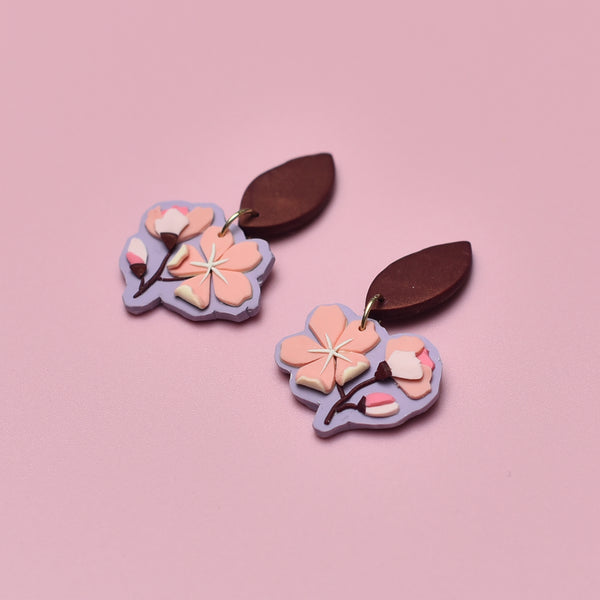 milki.sg Royal Sakura Copper Branches Dangles (Leaf)