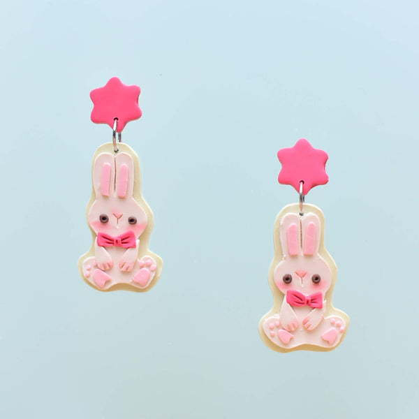 milki.sg Easter Party Dark Pink Dangles with Stickers and Postcard Bundle (Bunny)
