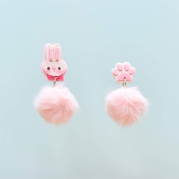 milki.sg Easter Party Pink Dangles with Stickers and Postcard Bundle (Paw)