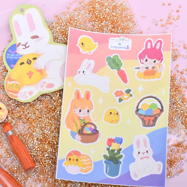 milki.sg Easter Party Orange Dangles with Stickers and Postcard Bundle (Garden)