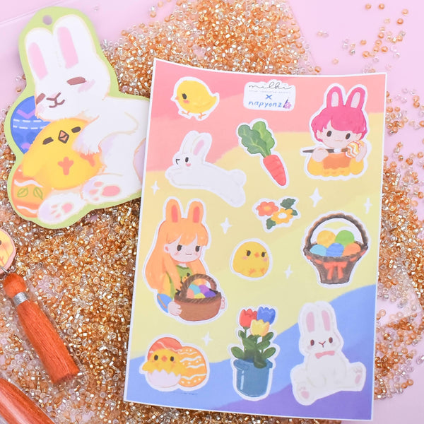 milki.sg Easter Party White Dangles with Stickers and Postcard Bundle (Paw)