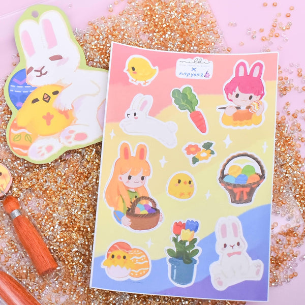 milki.sg Easter Party Maroon Dangles with Stickers and Postcard Bundle (Paw)