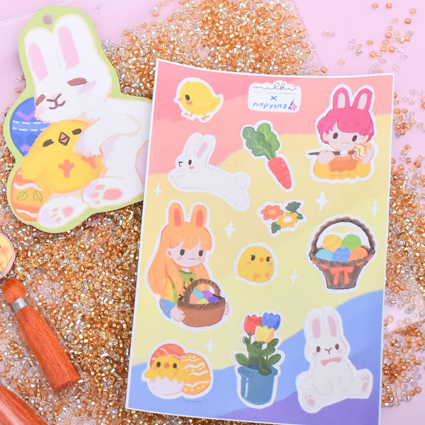 milki.sg Easter Party Brown Dangles with Stickers and Postcard Bundle (Paw)