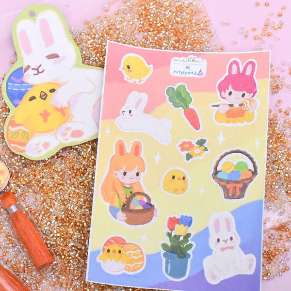 milki.sg Easter Party Dangles with Stickers and Postcard Bundle (Basket)