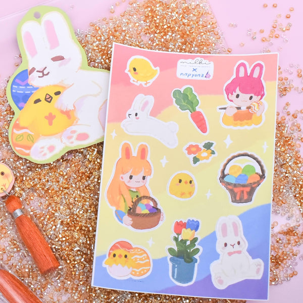 milki.sg Easter Party Studs with Stickers and Postcard Bundle (Garden Flowers)
