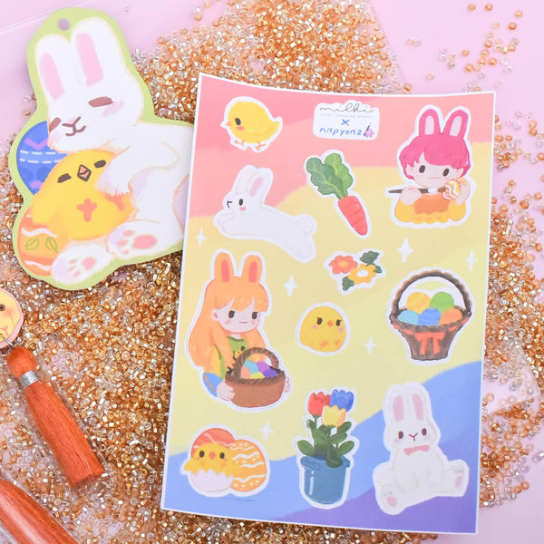 milki.sg Easter Party White Dangles with Stickers and Postcard Bundle (Pom)