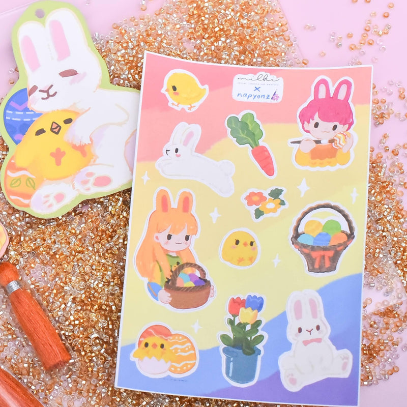 milki.sg Easter Party Yellow Dangles with Stickers and Postcard Bundle (Floral)