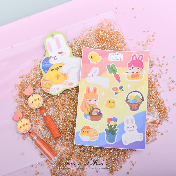 milki.sg Easter Party Dangles with Stickers and Postcard Bundle (Tassels)