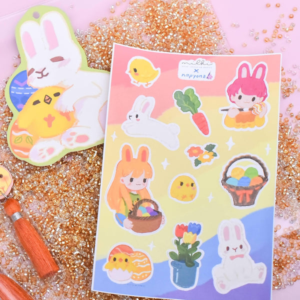 milki.sg Easter Party Pink Dangles with Stickers and Postcard Bundle (Bunny)