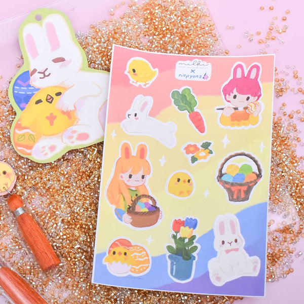 milki.sg Easter Party Studs with Stickers and Postcard Bundle (Pot)