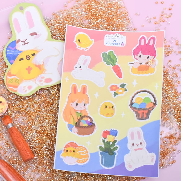 milki.sg Easter Party Yellow Dangles with Stickers and Postcard Bundle (Pom)