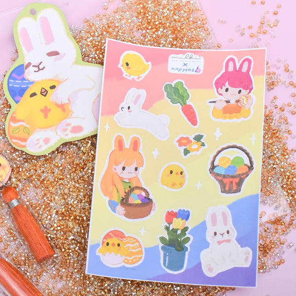 milki.sg Easter Party Yellow Dangles with Stickers and Postcard Bundle (Garden)