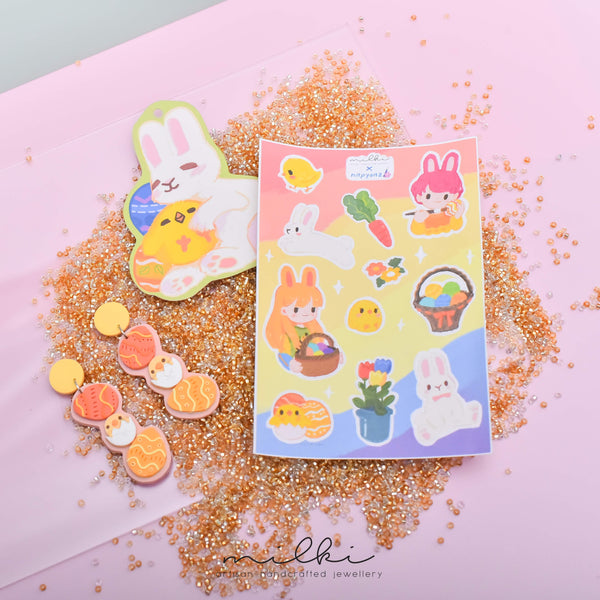 milki.sg Easter Party Dangles with Stickers and Postcard Bundle (Easter Egg 1)