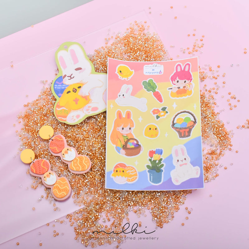 milki.sg Easter Party Dangles with Stickers and Postcard Bundle (Easter Egg 2)