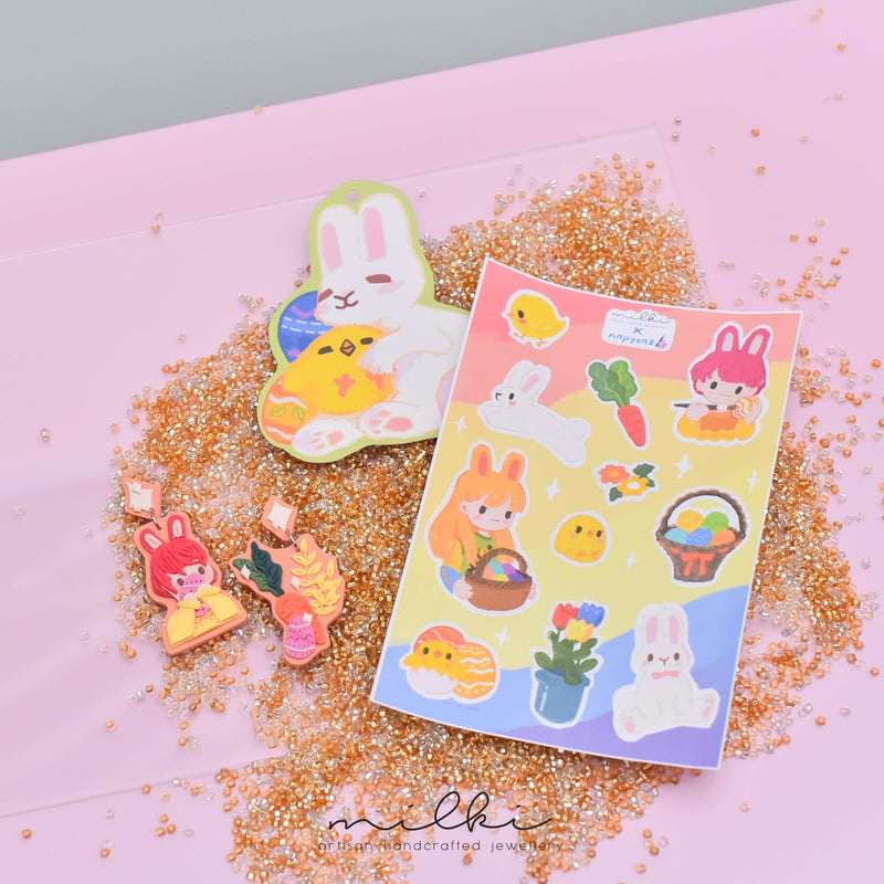milki.sg Easter Party Dangles with Stickers and Postcard Bundle (Portrait)