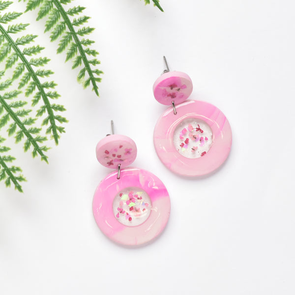 milki.sg Eternal Bloom Pink Dangles (Circle)