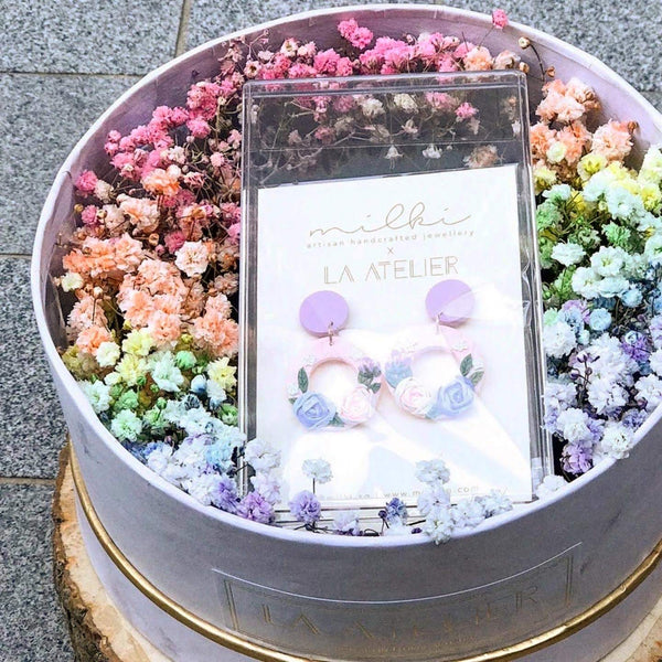 milki.sg Rainbow Fleur Gifts in Box — Morning Dew Blooms Dangles (Hollow)