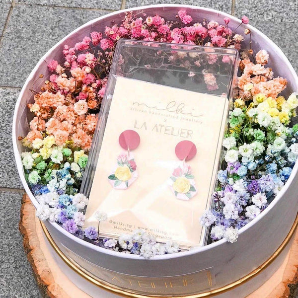 milki.sg Rainbow Fleur Gifts in Box — Mellow Yellow Dangles (Geocut)