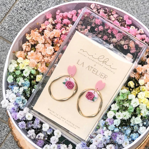 milki.sg Rainbow Fleur Gifts in Box — Mellow Yellow Baby Pink Dangles (Ring)