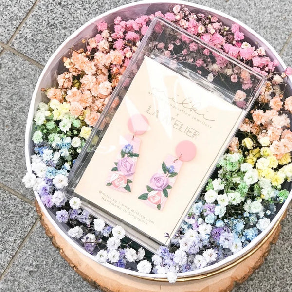 milki.sg Rainbow Fleur Gifts in Box — Morning Dew Blooms Dangles (Mau)