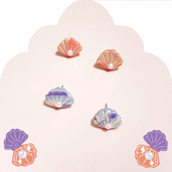 Shells & Pearls Studs (Peach)