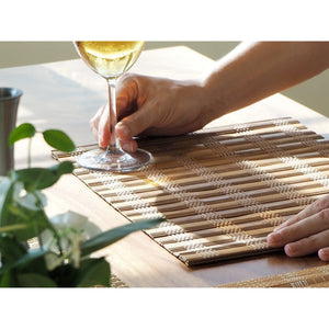 Handmade Wide Mix Brown Bamboo Placemats (Set of 4) - Meraki Cole Company