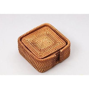 Handmade Square Rattan Coasters (Set of 6) at Meraki Cole Company