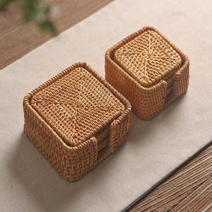 Handmade Square Rattan Coasters (Set of 6) - Meraki Cole Company