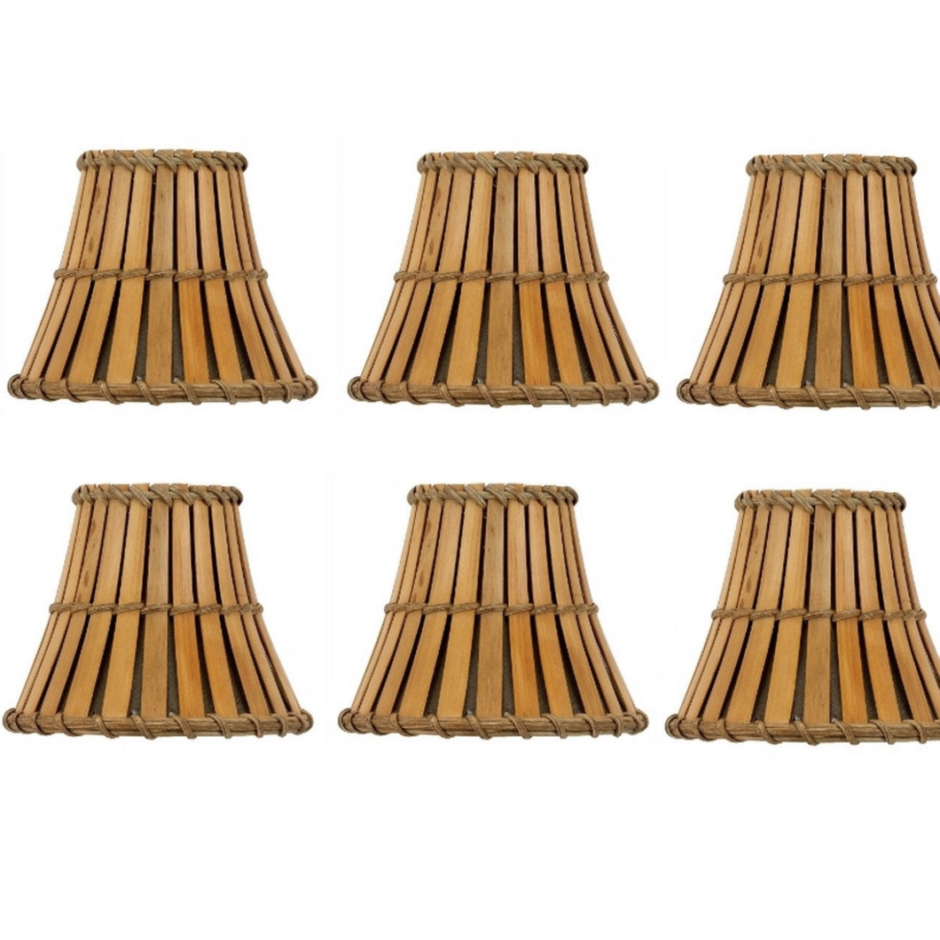 Natural Woven Bamboo Chandelier Lampshades (Set of 6) - Meraki Cole Company