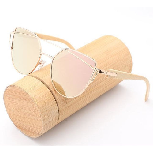 Bamboo Fashion Mirror Sunglasses - Meraki Cole Company