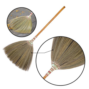 Asian Flower Broom Thai Traditional Grass Broom 40 Inch Length - Product Closeup View - Meraki Cole Company
