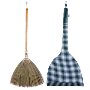 Asian Flower Broom Thai Traditional Grass Broom 40 Inch Length with Cloth Storage Bag - Meraki Cole Company