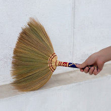 Load image into Gallery viewer, Natural Grass Hand Broom with Embroidered Handle 17 Inch Length (2 Piece Set) - Product Use View - Meraki Cole Company