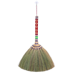 Natural Grass Hand Broom with Embroidered Handle 17 Inch Length (2 Piece Set) - Meraki Cole Company