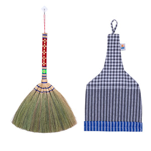 Natural Grass Hand Broom with Embroidered Handle 17 Inch Length (2 Piece Set) with Linen Storage Bag - Meraki Cole Company