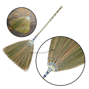 Traditional Thailand Grass Broom with Woven Bamboo Handle 40 Inch Length - Broom Close Up Product View - Meraki Cole Company
