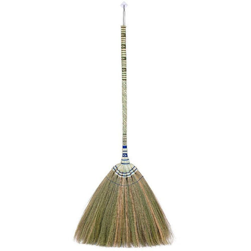 Traditional Thailand Grass Broom with Woven Bamboo Handle 40 Inch Length - Meraki Cole Company