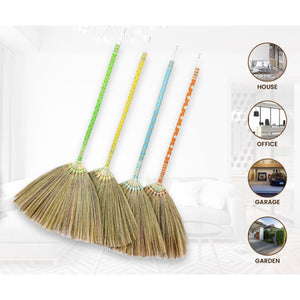 Thai Pattern Broom Authentic Asian Natural Grass Broom 40 Inch Length - Meraki Cole Company