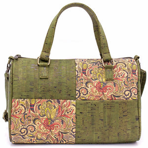 Cork Duffle Overnight Bag with Pattern - Color Green Pattern - Meraki Cole Company