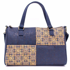 Cork Duffle Overnight Bag with Pattern - Color Blue -  Meraki Cole Company