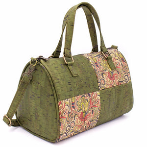 Cork Duffle Overnight Bag with Pattern - Side View - Meraki Cole Company