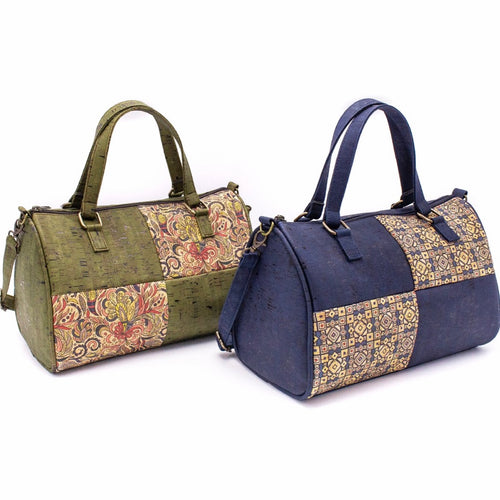 Cork Duffle Overnight Bag with Pattern - Meraki Cole Company