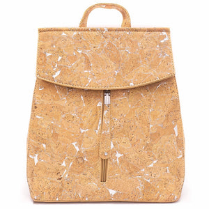 100% Natural Cork Backpack - Natural with Silver - Meraki Cole Company