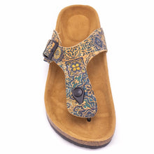 Load image into Gallery viewer, Natural Cork Geometric Pattern Sandal - Top View - Meraki Cole Company