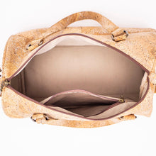 Load image into Gallery viewer, Natural Cork Duffle Overnight Bag - Inside View - Meraki Cole Company