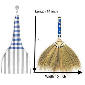 "14"" Thai Vintage Embroidered Woven Grass Broom - Meraki Cole Company"