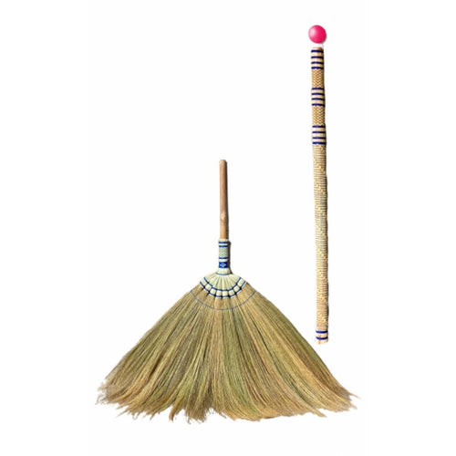 2 Piece Adjustable Broom Asian Handmade Natural Grass Broom with Bamboo Handle 26 or 40 Inch Length - Meraki Cole Company