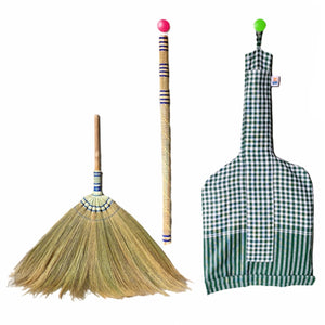 2 Piece Adjustable Broom Asian Handmade Natural Grass Broom with Bamboo Handle 26 or 40 Inch Length with Cloth Bag - Meraki Cole Company