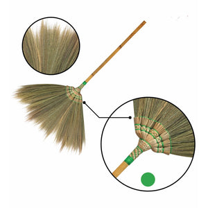 Hand Embroidered Flower Soft Grass Brooms with Bamboo Stick Handle 40 Inch Length - Meraki Cole Company
